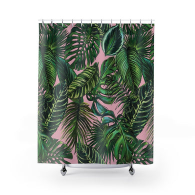 Palm Leaf Blush Shower Curtain