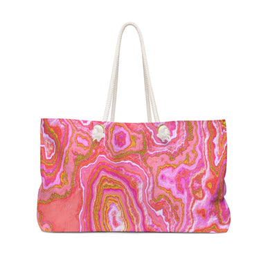 Hot Pink and Gold Geode Beach & Pool Tote Bag