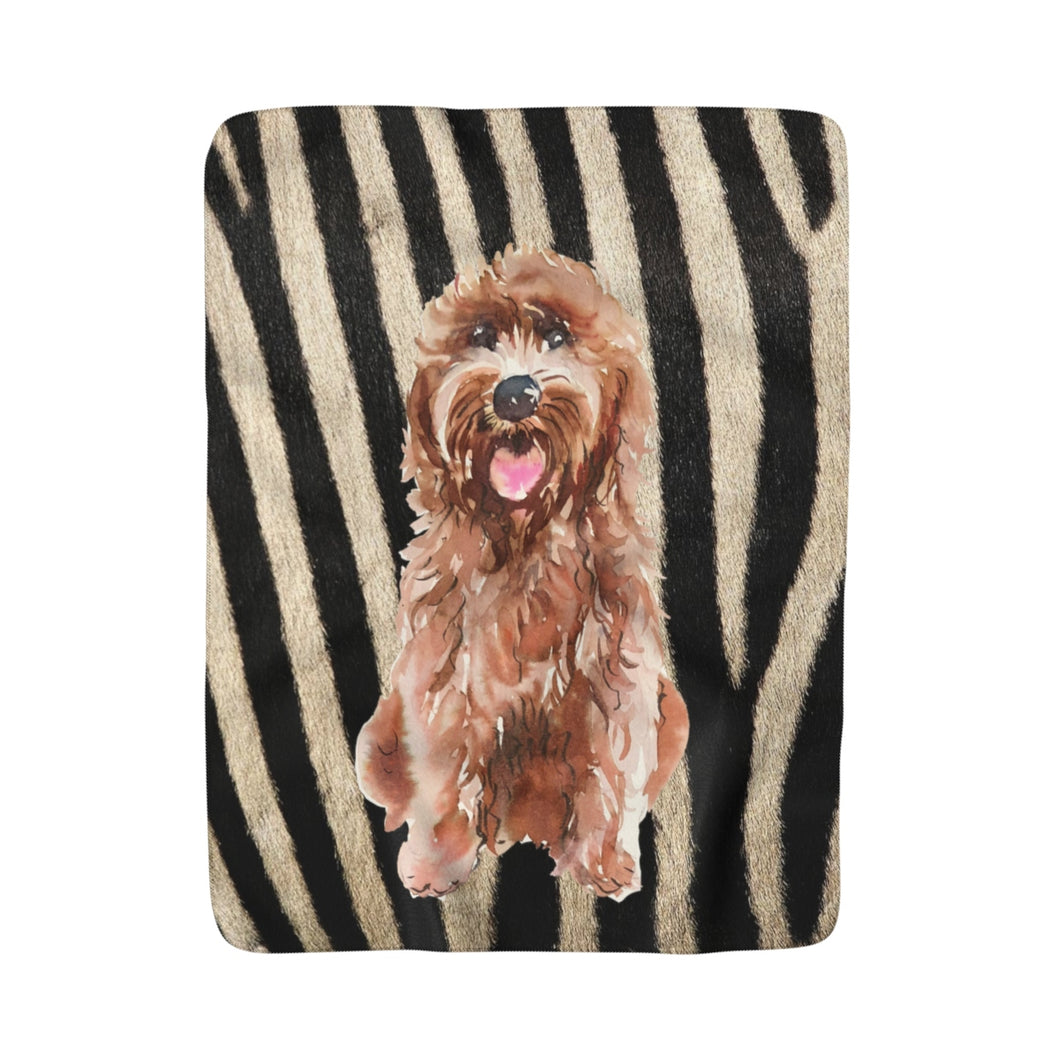 Zebra Goldendoodle Fleece Sherpa Blanket