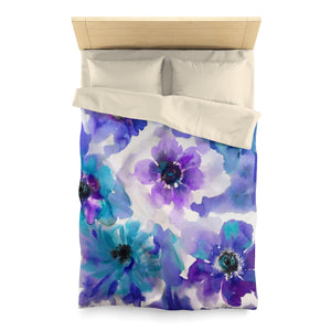 Blue & Purple Watercolor Anemones Everyday Duvet Cover