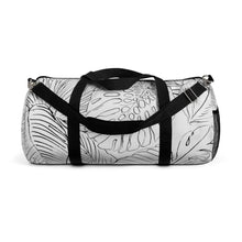 Palm Leaf Outline Black & White Duffle Bag