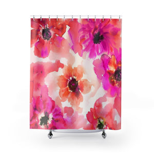 Hot Pink & Orange Watercolor Anemones Shower Curtain