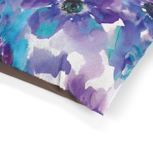Blue & Purple Watercolor Anemones Pet Bed