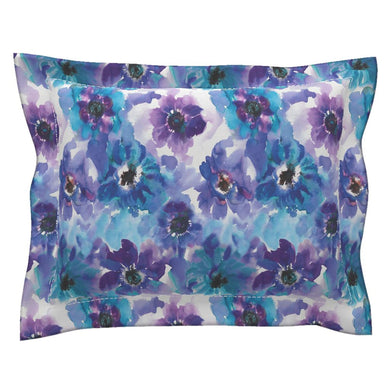 Blue & Purple Watercolor Anemones LUXE Flanged Edge Pillow Sham