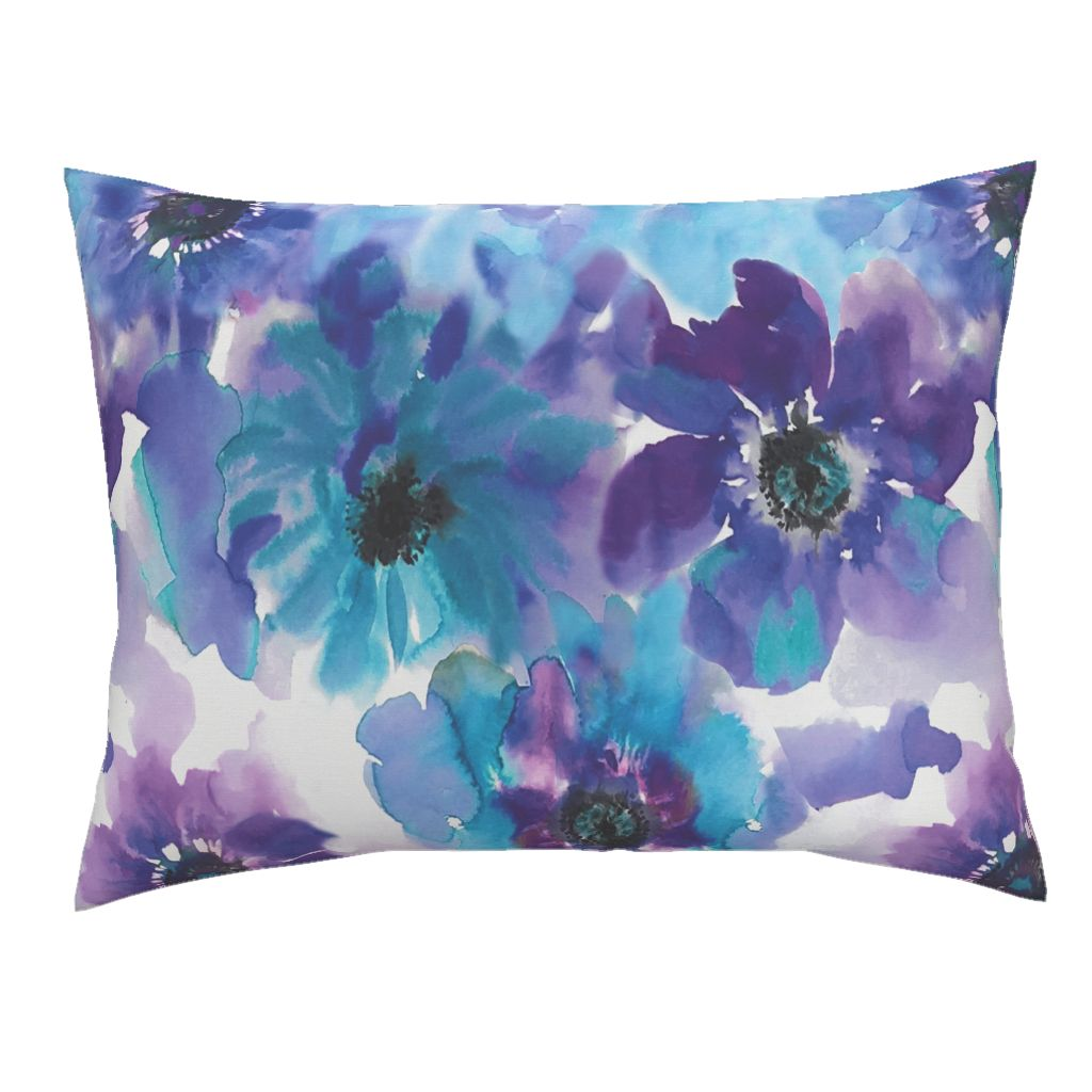 Blue & Purple Watercolor Anemones LUXE Knife Edge Campine Pillow Sham