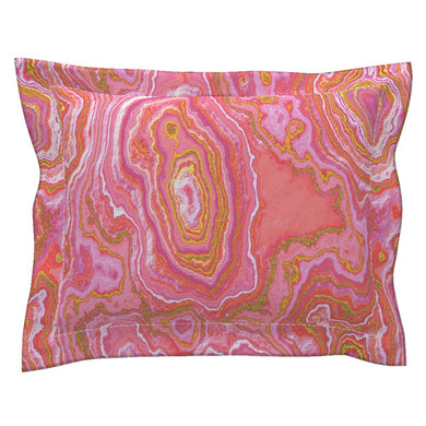 Hot Pink & Gold Geode LUXE Flanged Edge Pillow Sham