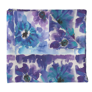 Blue & Purple Watercolor Anemones LUXE Duvet Cover