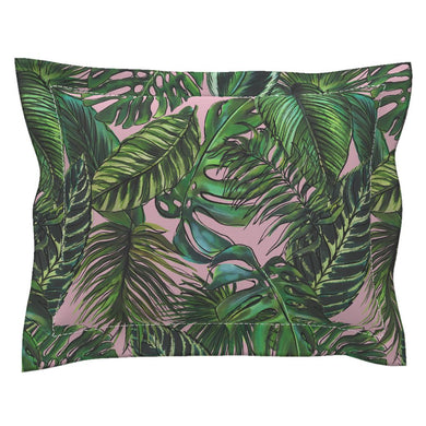 Palm Leaf Blush LUXE Flanged Edge Pillow Sham
