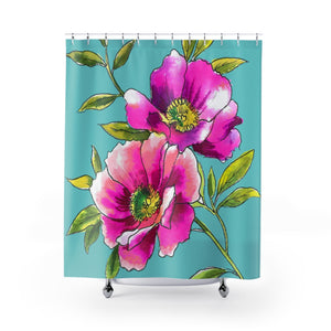 Anemones Fuchsia & Teal Shower Curtain