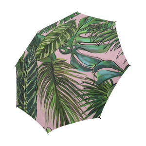 Palm Leaf Blush Semi Fold Umbrella