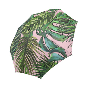Palm Leaf Blush Auto-Foldable Umbrella