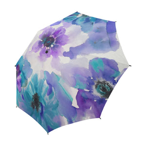Blue & Purple Watercolor Anemones Semi-Auto Fold Umbrella
