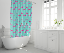 Aqua Flamingos Shower Curtain