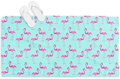 Aqua Flamingos Beach Towel