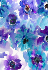 Blue & Purple Watercolor Anemones Gift Wrap Sheet Set of 3