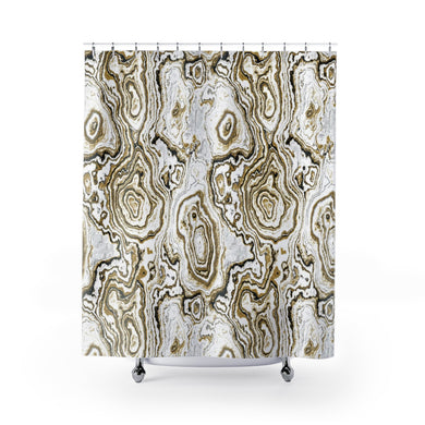 Gold, Black & White Geode Shower Curtain