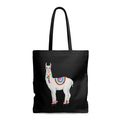 All Love Llama Black Tote Bag