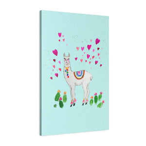 All Love Llama Aqua Leather Gallery Wrap
