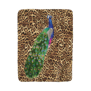Peacock & Leopard Fleece Sherpa Blanket