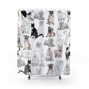 Preppy Pooches Shower Curtain
