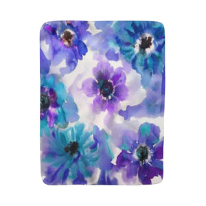 Blue & Purple Watercolor Anemones Fleece Sherpa Blanket