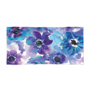 Blue & Purple Watercolor Anemones Beach Towel