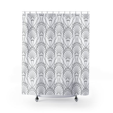 Black + White Art Deco Shower Curtain