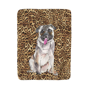 Leopard & Puppy Fleece Sherpa Blankets: Multiple Breeds