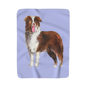 Doggy Illustration Fleece Sherpa Blanket: Multiple Breeds