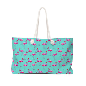 Aqua Flamingos Beach & Pool Tote Bag