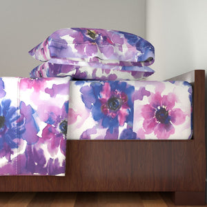 Blue & Purple Watercolor Anemones LUXE Sheet Set