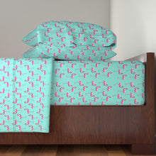 Aqua Flamingos LUXE Sheet Set