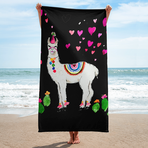 All Love Llama Birthday Hat Black Towel