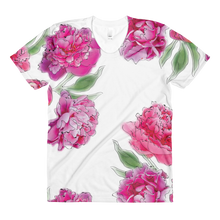 3D Peonies All Over Sublimation Women's Crew Neck T-Shirt