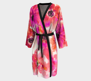 Fuchsia & Orange Watercolor Anemones Peignoir Robe