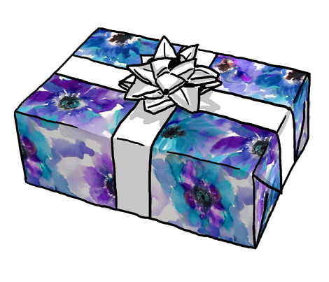 Blue & Purple Anemones Gift Wrap Roll