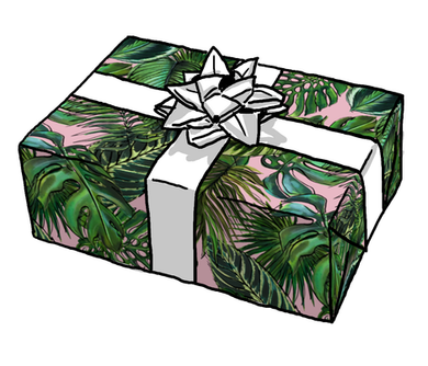 Palm leaf Blush Gift Wrap Roll