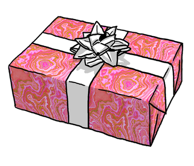 Hot Pink & Gold Geode Gift Wrap Roll