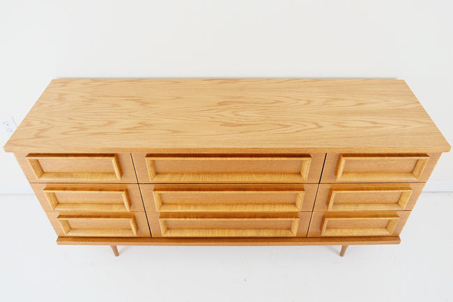 Fashion Trend by Johnson Carper Mid Century Modern Lowboy Dresser Sculpted Pulls