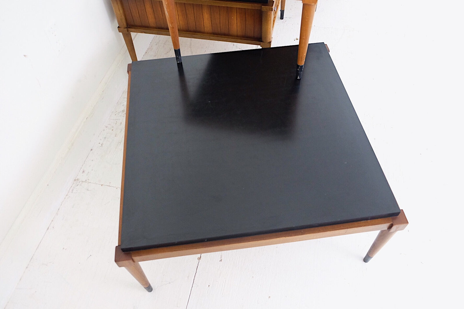 Lane Coffee Side and End Tables Mid Century Modern Black Contrasting Laminate Ebonized Painted
