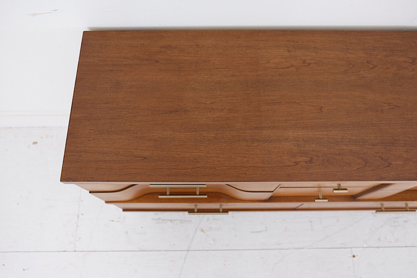 Johnson Carper Low Dresser Fashion Trend Eight Drawers New Cherry Veneer Top Brass New Modern Handles