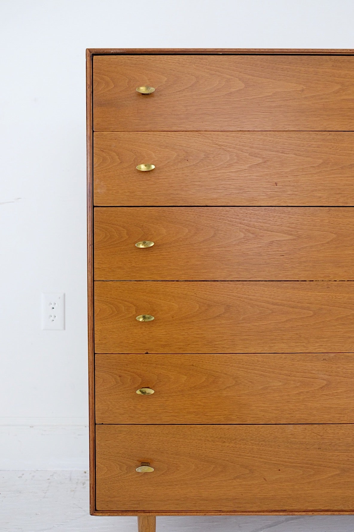 #2 RWAY Tall Dresser Five Drawer Mid Century Modern Brass Pulls Steel Framing