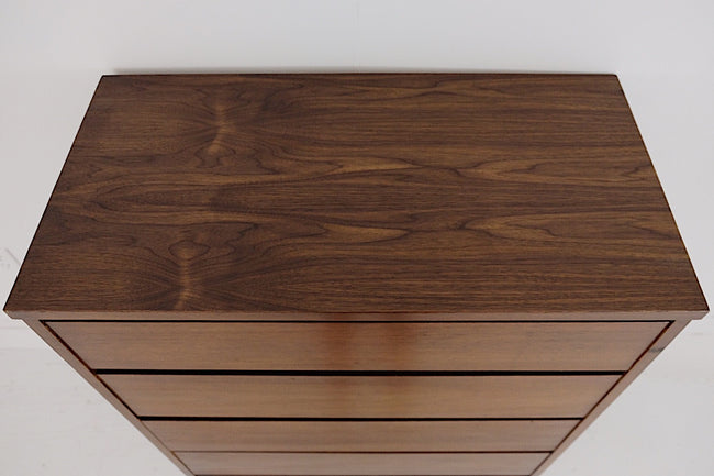 Bassett Tall Four Drawer Dresser Walnut Veneer Contrasting Rosewood Laminate Inset Behind Drawers New Walnut Veneer Top