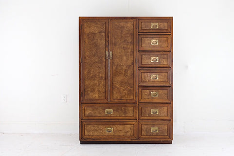 United Furniture Low Dresser Carved Fronts Brass Handles Nine Drawers