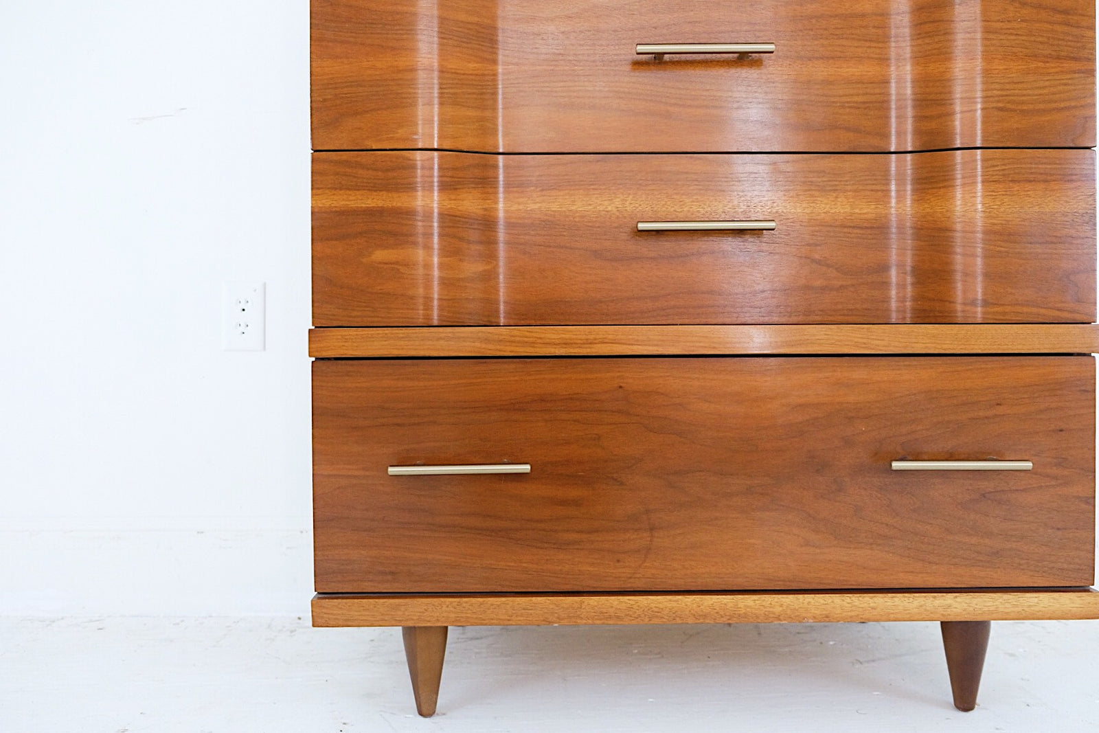 Johnson Carper Tall Four Drawer Fashion Trends Dresser Mid Century Modern Brass Modern Handles