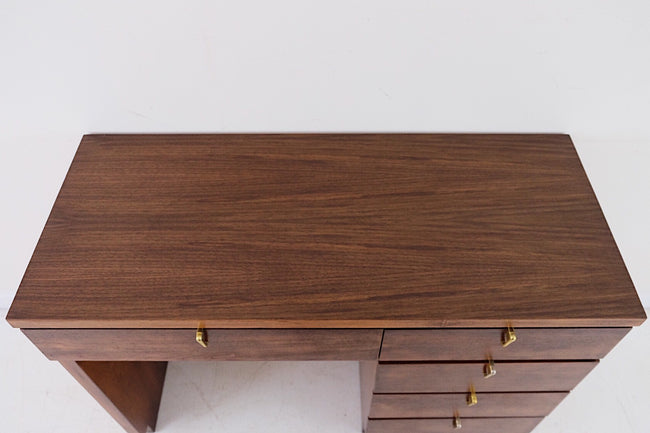 Sweet Little Mid Century Desk with Brass Pulls in the Style of John Van Koert