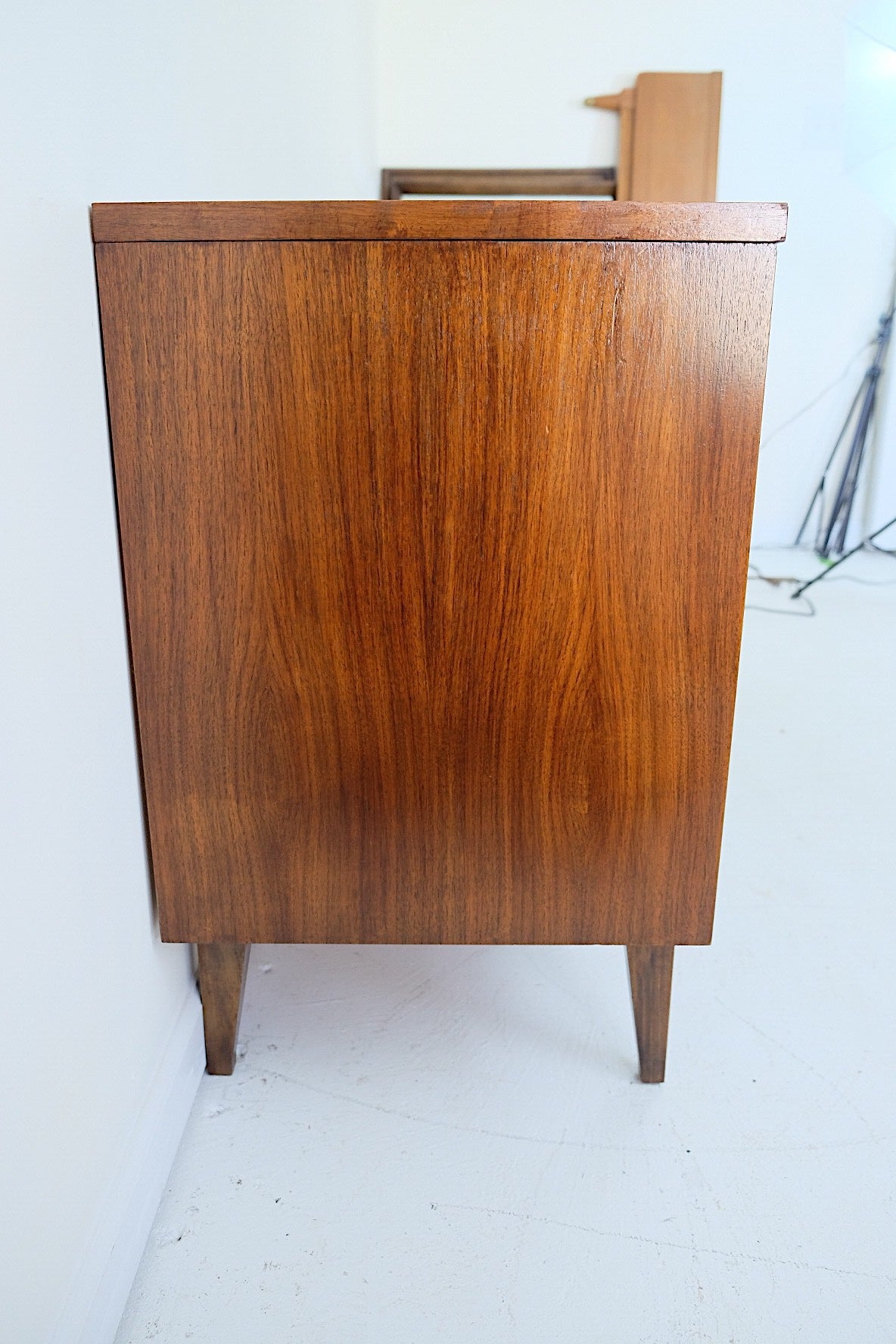 Johnson Carper Mid Century Modern Lowboy Dresser Curved Fronts Square Brass Handles