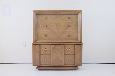 RWAY Burled Walnut Credenza Sideboard Storage Unit