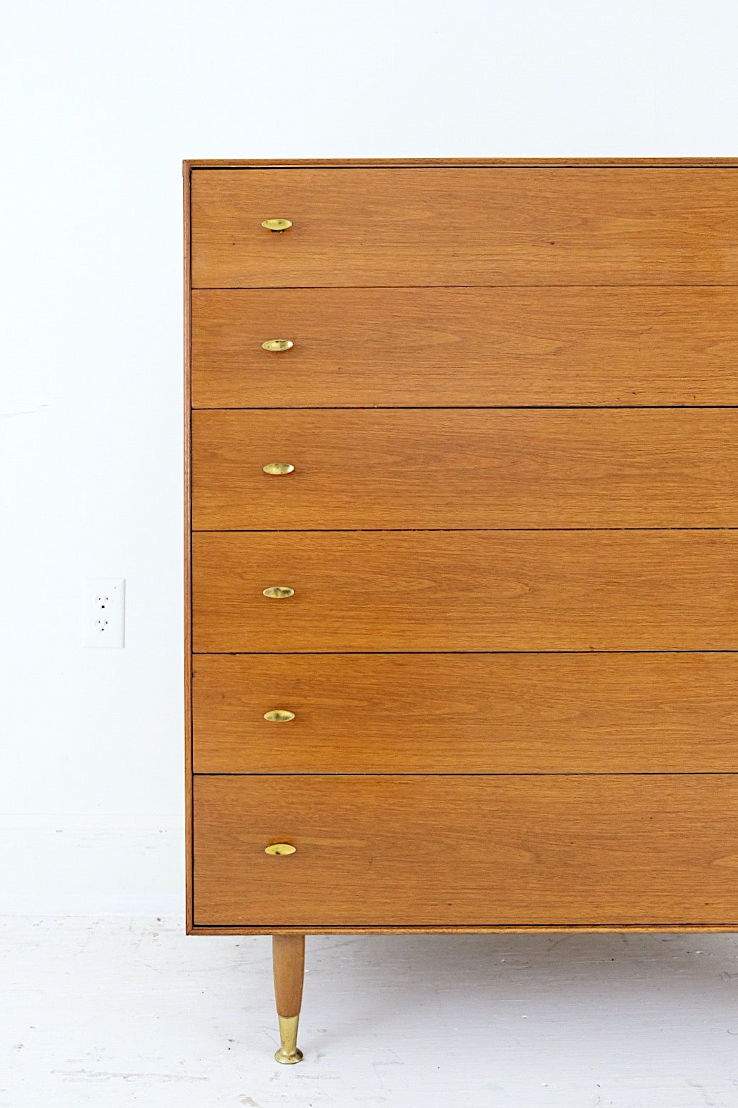 #1 RWAY Tall Dresser Five Drawer Mid Century Modern Brass Pulls Steel Framing