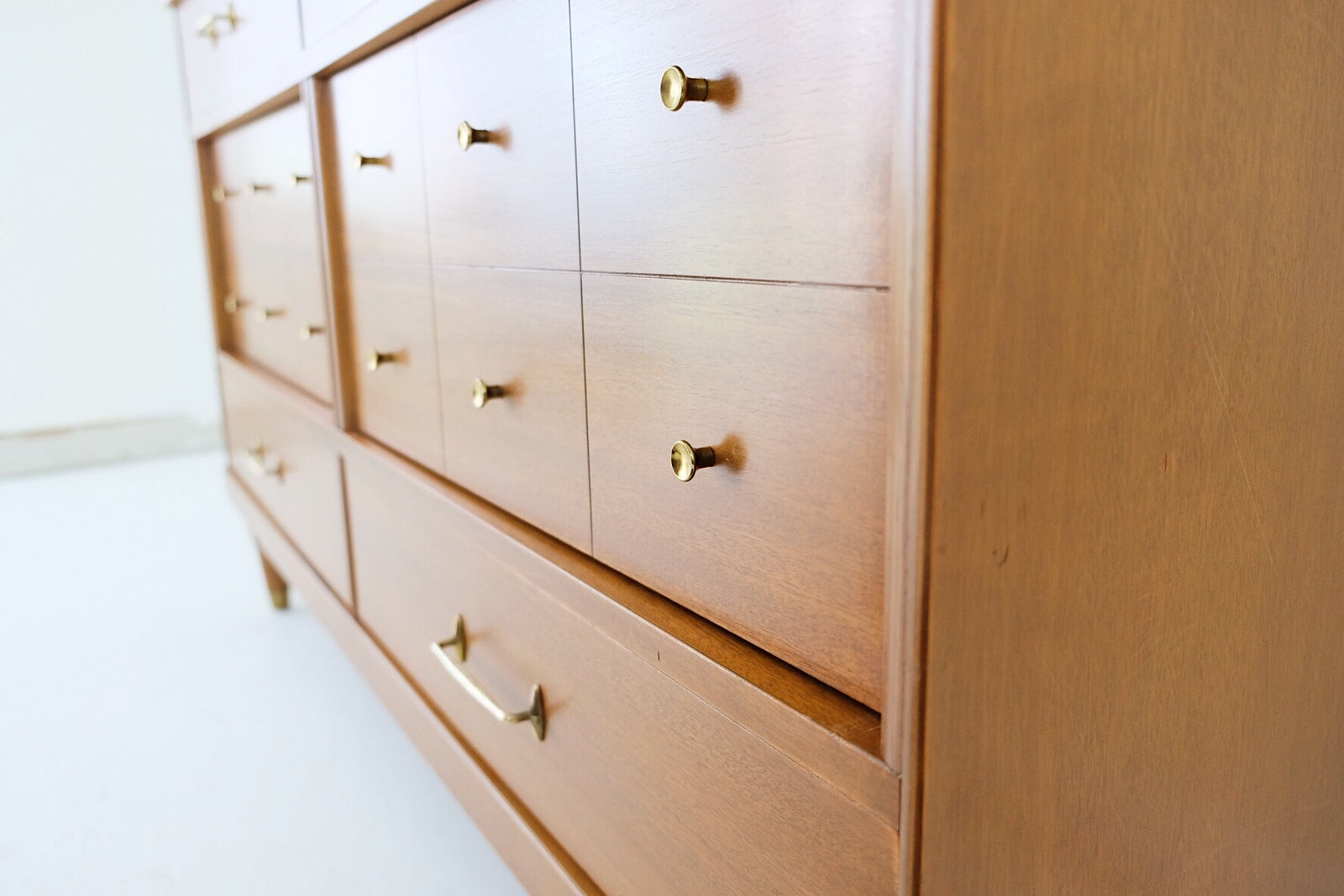 Bassett Mid Century Honey Low Dresser Brass Pulls and Knobs